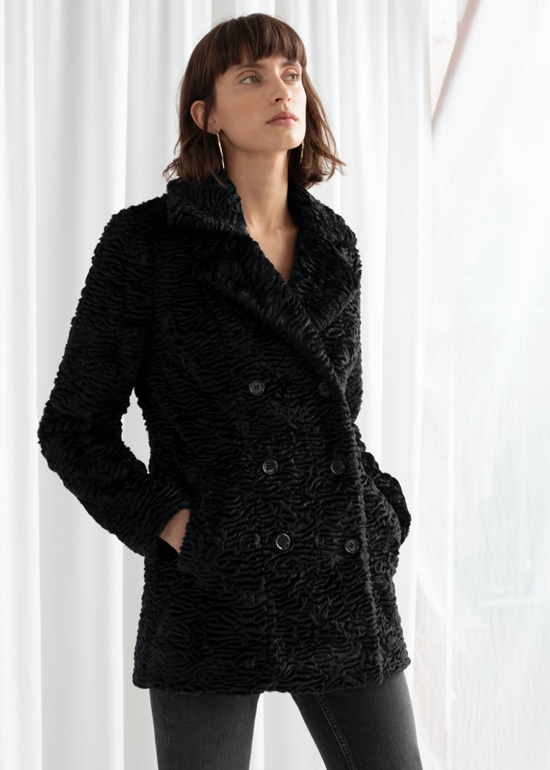 & Other Stories Faux Fur Double Breasted Coat $149