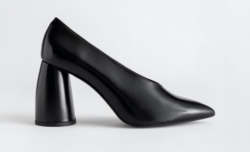 & Other Stories Flared Block Heel Leather Pumps $129