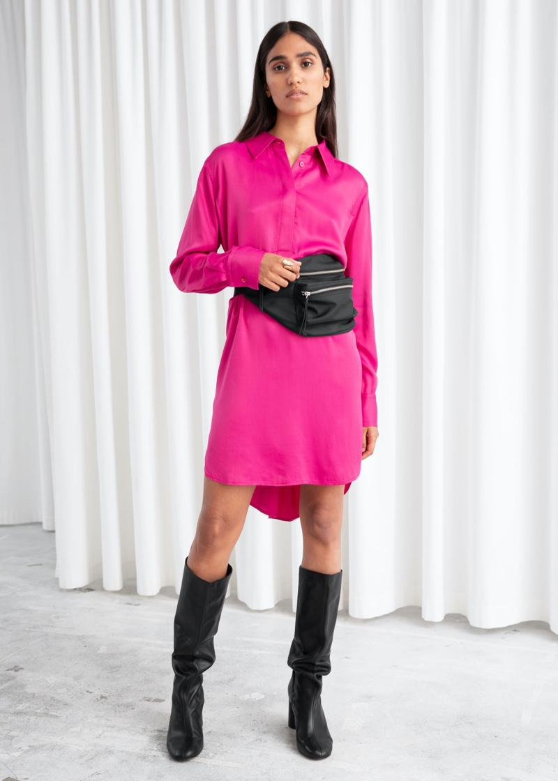 & Other Stories Flowy Satin Shirt Dress $99