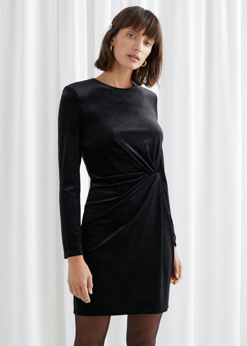 & Other Stories Glitter Velour Mini Dress in Black $69