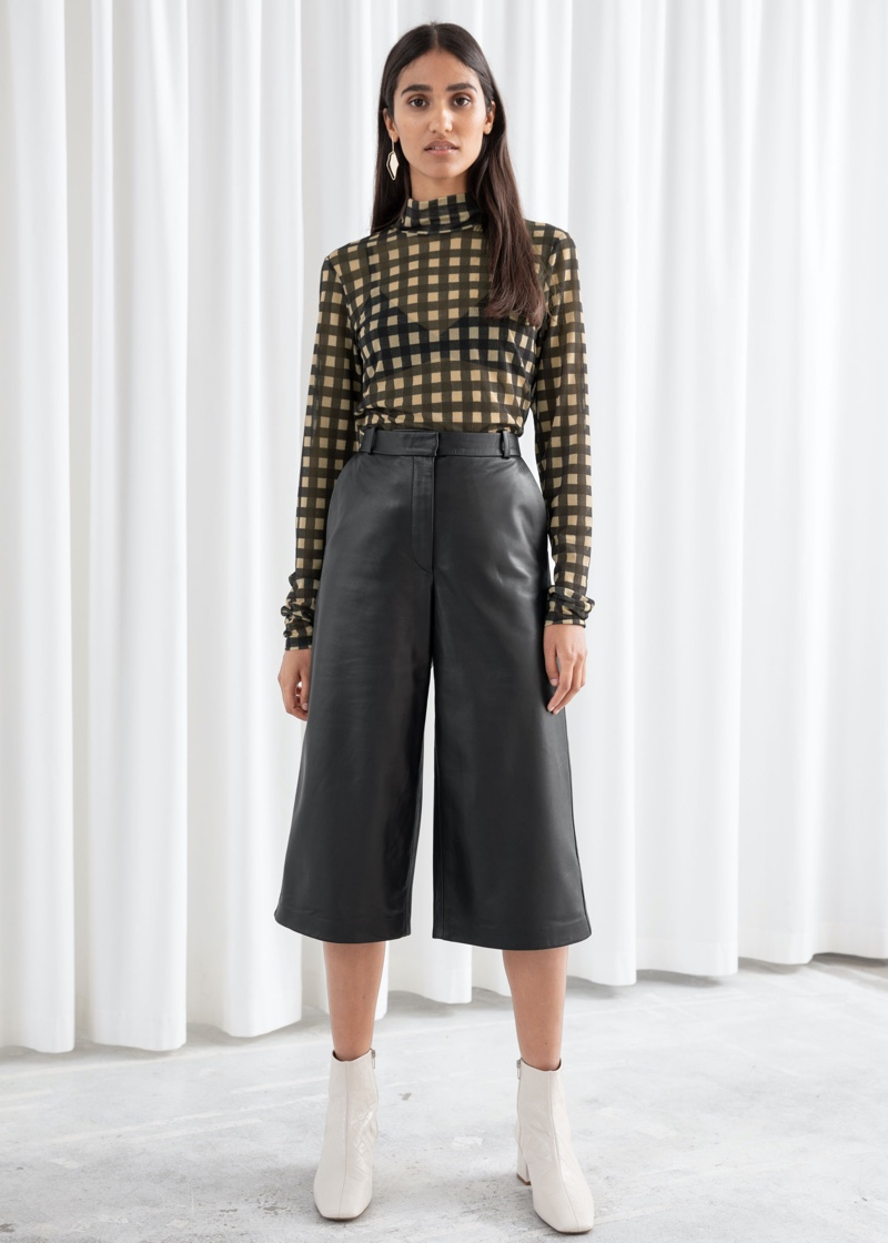 & Other Stories Leather Culotte Shorts $299