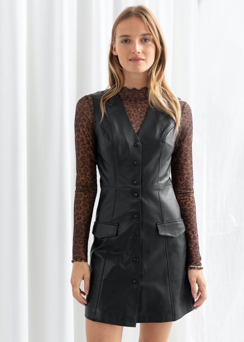 & Other Stories Leather Sleeveless Mini Dress $349