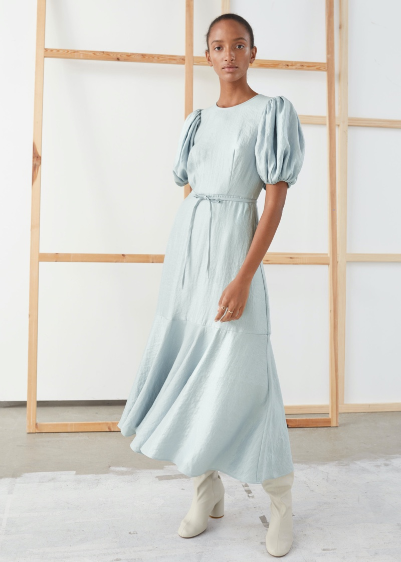 & Other Stories Metallic Crepe Puff Sleeve Midi Dress $119