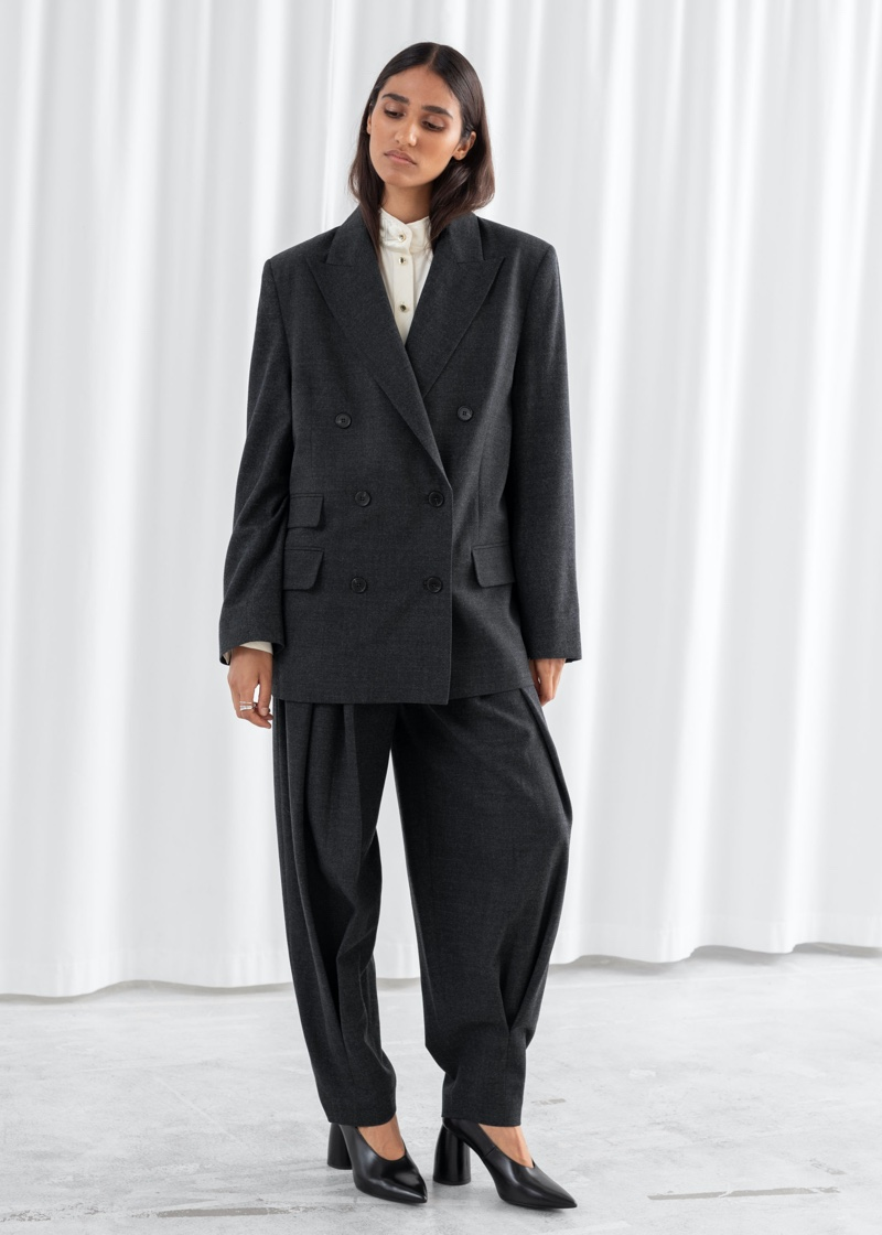 & Other Stories Oversized Double Breasted Blazer in Dark Grey $219