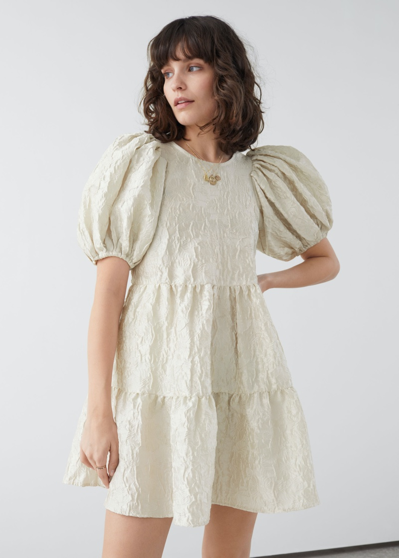 & Other Stories Puff Sleeve Jacquard Mini Dress $119