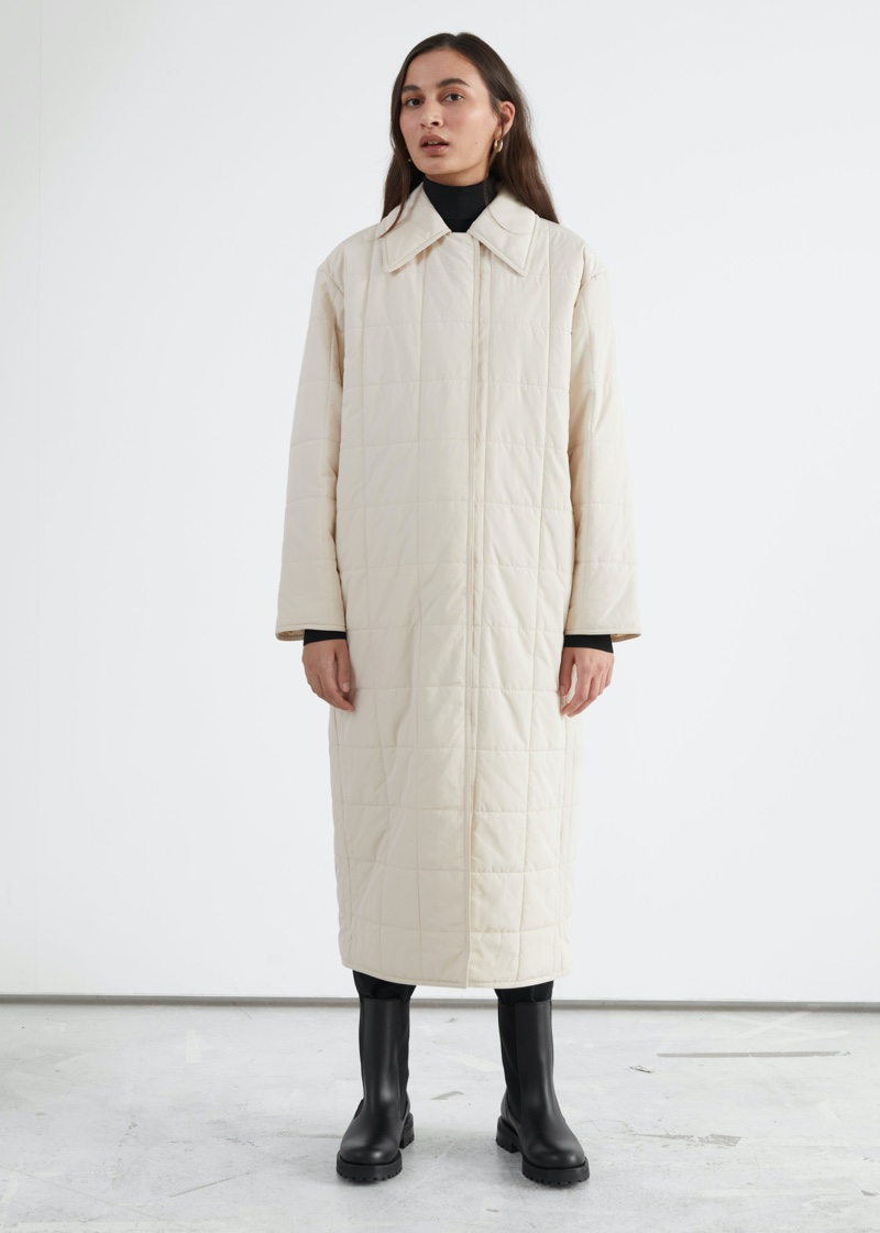 & Other Stories Relaxed Padded Puffer Coat in White $179