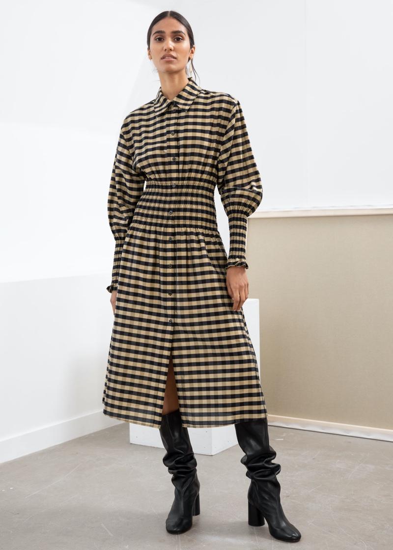 & Other Stories Smocked Plaid Midi Shirt Dress $129
