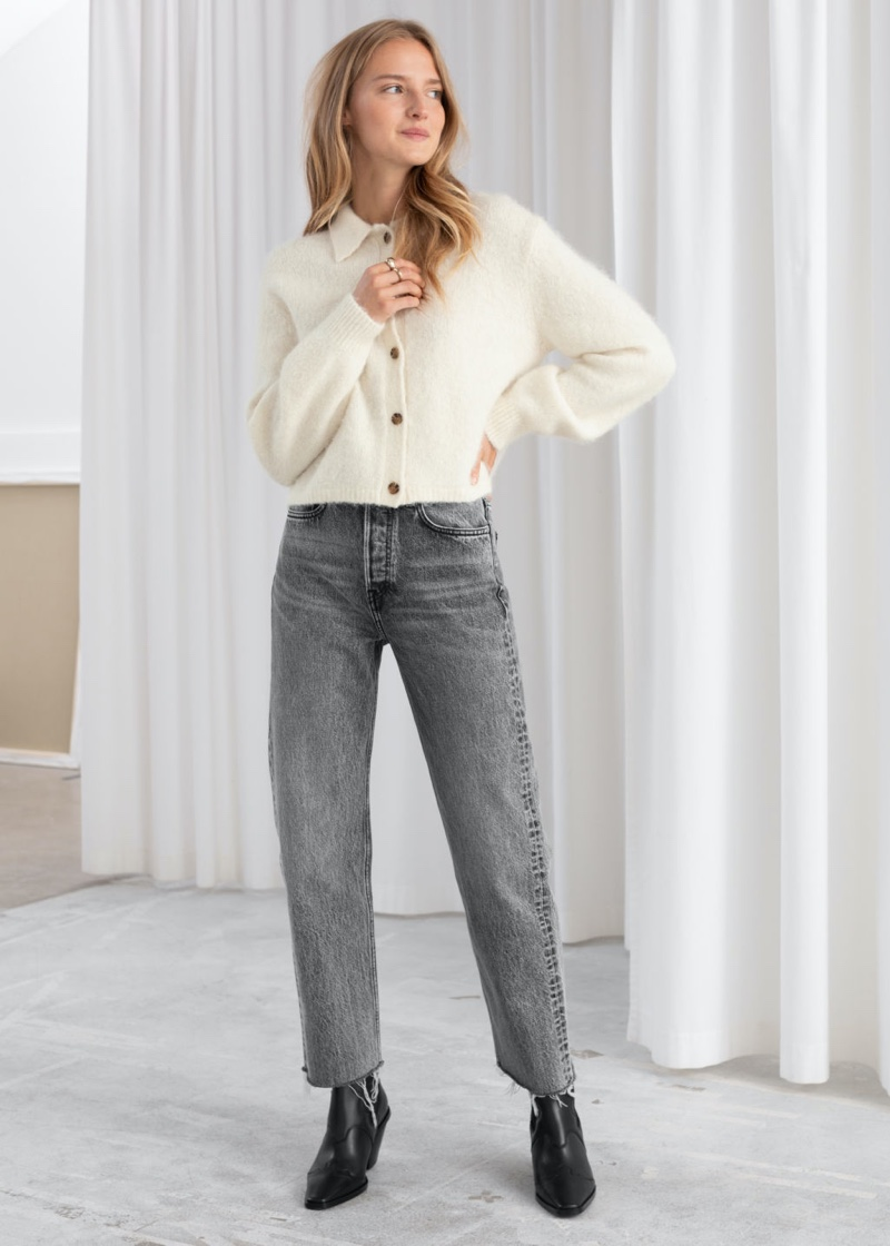 & Other Stories Straight Mid Rise Jeans in Grey $79