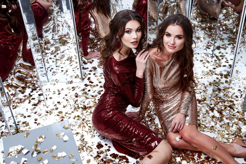 Party Sequin Dress Brunette Models Gold Confetti