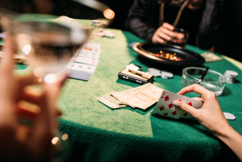 Poker Table Cards Drinks