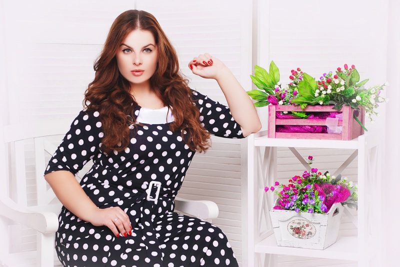 Polka Dot Dress Plus Size Model