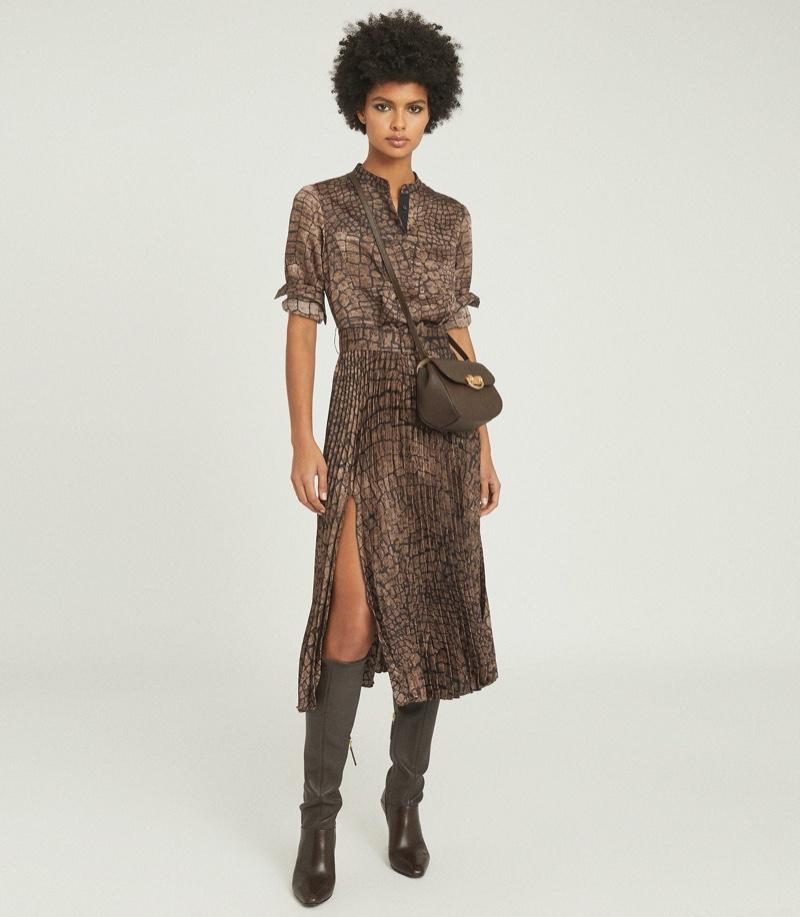 REISS Avianna Croc Print Midi Dress $445