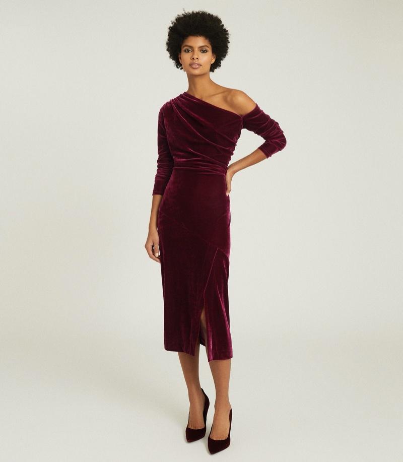 REISS Bella Velvet Midi Dress in Berry $320