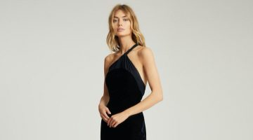 REISS Karla One Shoulder Velvet Dress $370