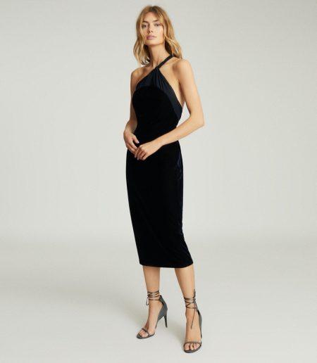 REISS Karla One Shoulder Velvet Dress $370