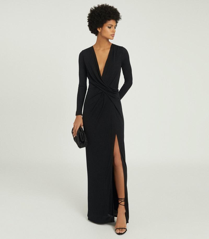 REISS Lillian Plunge Detail Maxi Dress $370