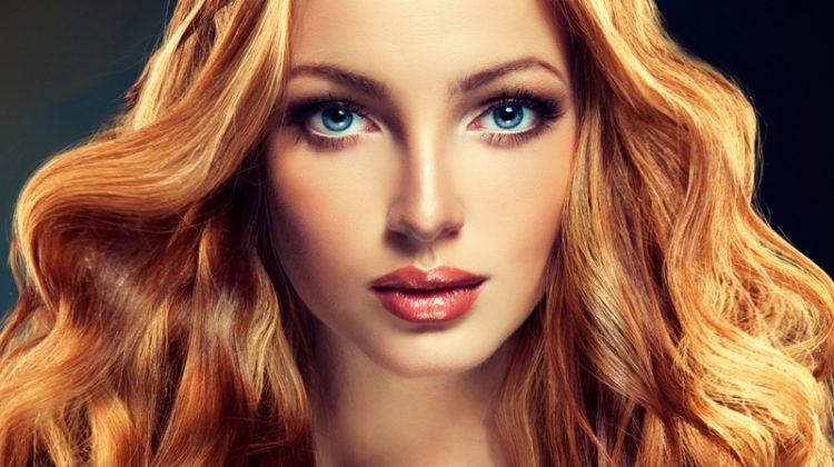 Redhead Model Wavy Hair Beauty Makeup