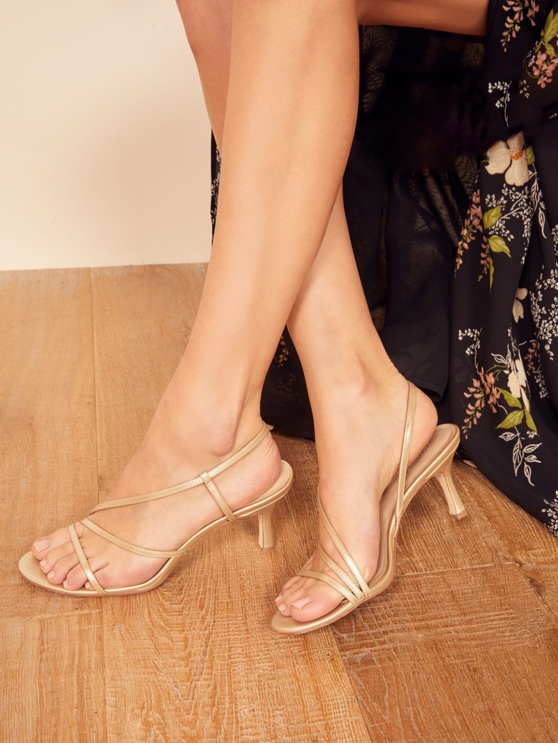 Reformation Marylou Sandal in Gold $178