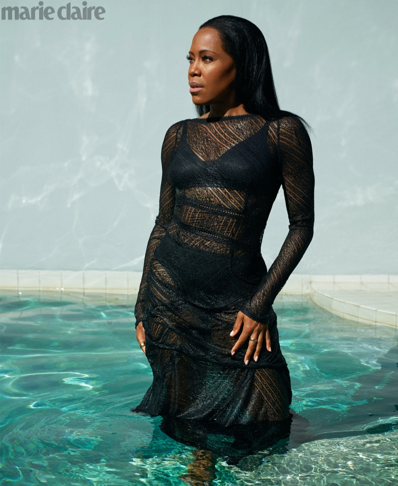 Regina King poses in Antonio Berardi dress with Chanel Fine Jewelry rings