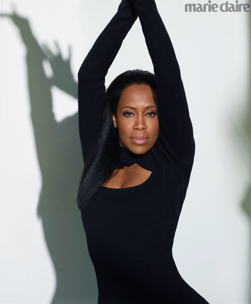 Striking a pose, Regina King wears Victor Glemaud dress