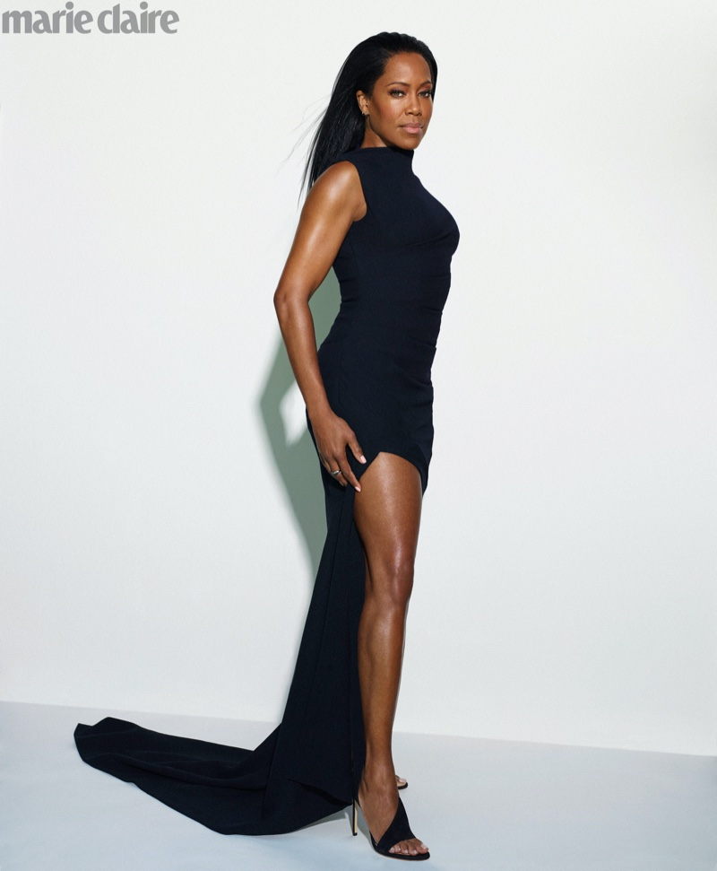 Flaunting some leg, Regina King wears Monse dress with Francesco Russo heels