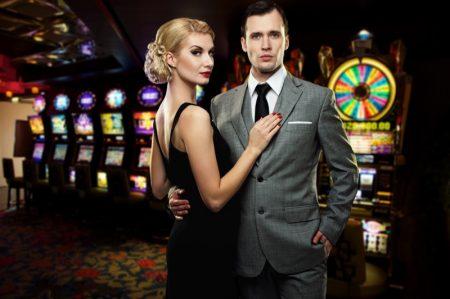 Retro Couple Casino Woman Black Dress Man Suit