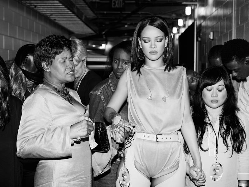 "Backstage with Nadine ""Hi-Hat"" Ruffin, Monica Fenty, Naphia White, and Mylah Morales, Anti World Tour, AmericanAirlines Arena, Miami, 2016. Photograph: Dennis Leupold"