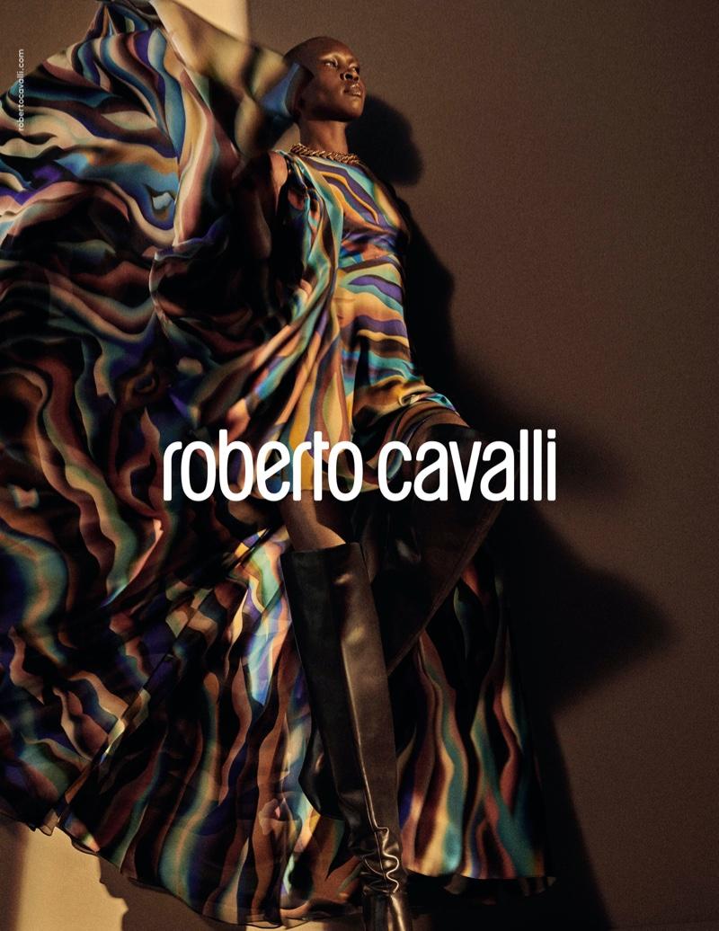 Alek Wek wears printed maxi dress in Roberto Cavalli fall-winter 2019 campaign