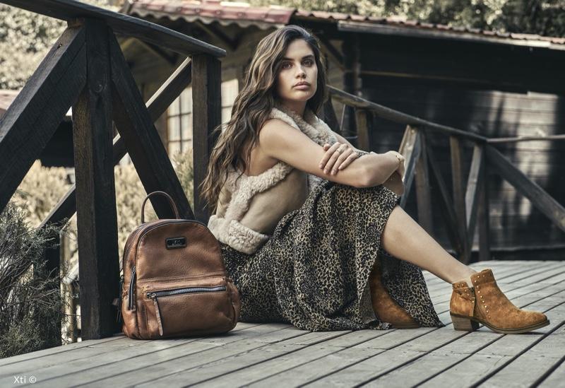 Posing outdoors, Sara Sampaio fronts XTI Shoes fall-winter 2019 campaign