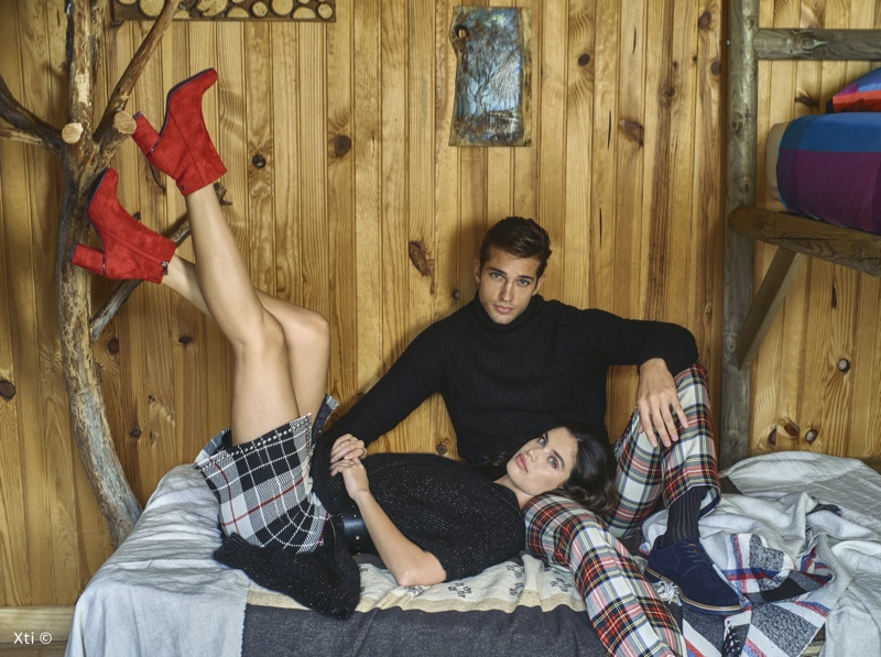 Kicking up her heels, Sara Sampaio poses with Ben Bowers for XTI Shoes fall-winter 2019 campaign