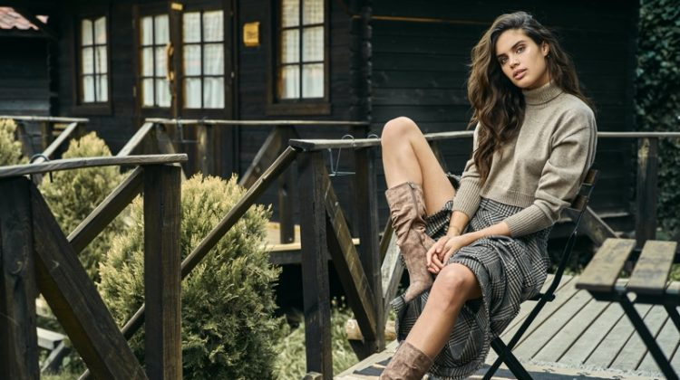 Wearing boots, Sara Sampaio returns for XTI Shoes fall-winter 2019 campaign