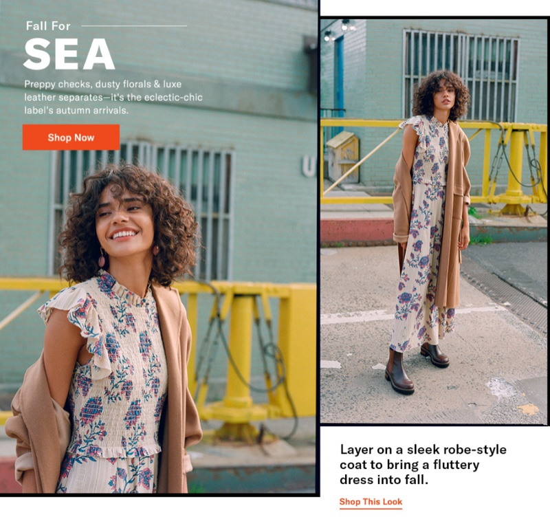 Sea Odette Smocked Dress $395, Ava Robe Coat $850 and See by Chloe Mallory Chelsea Flat Booties $415