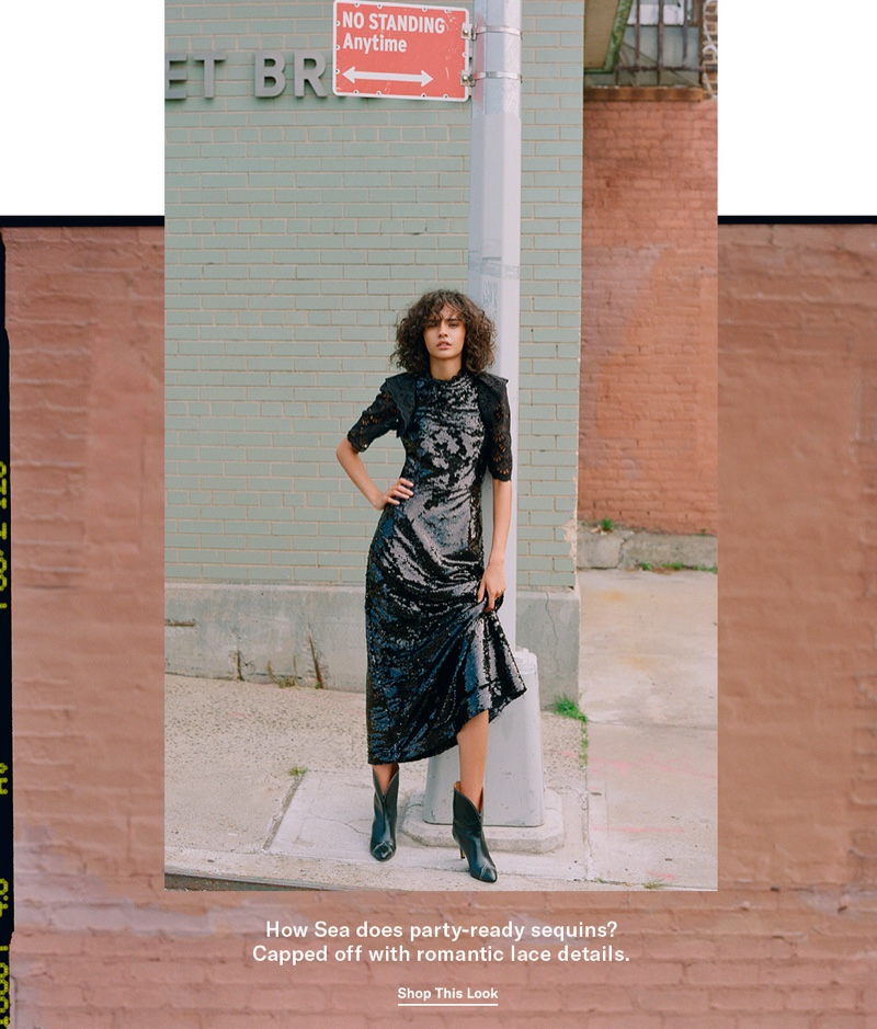 Sea Sequined Short Sleeve Dress $445 and Isabel Marant Dythey Boots $1,065