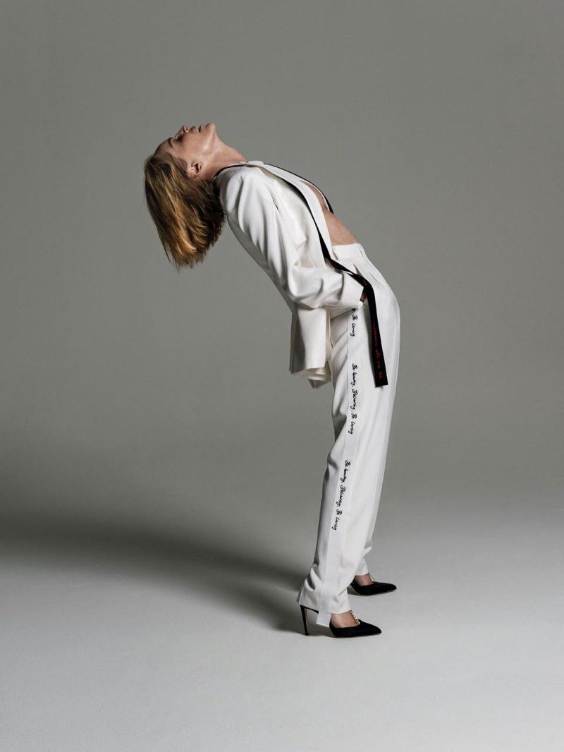 Actress Sharon Stone wears Stella McCartney jacket and pants with Chloe Gosselin heels