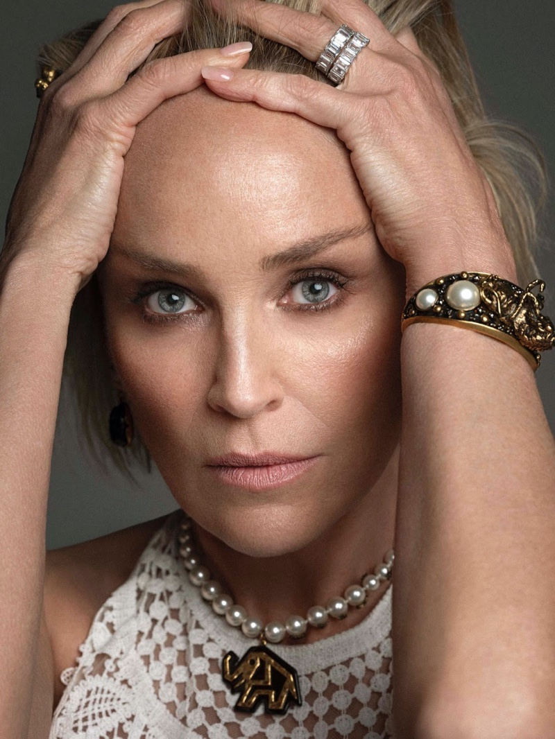 Ready for her closeup, Sharon Stone models Dior dress, necklace and bracelet