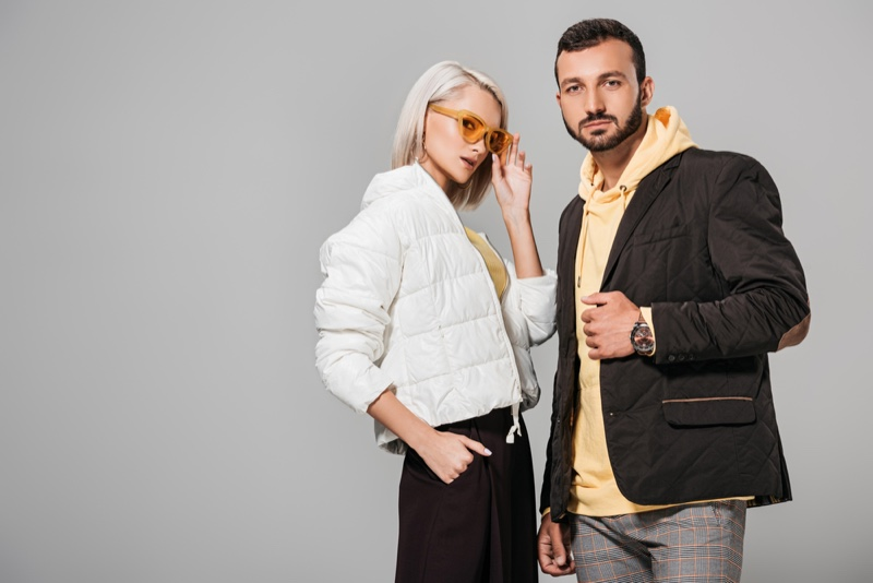 Stylish Couple Man Woman Jackets Models