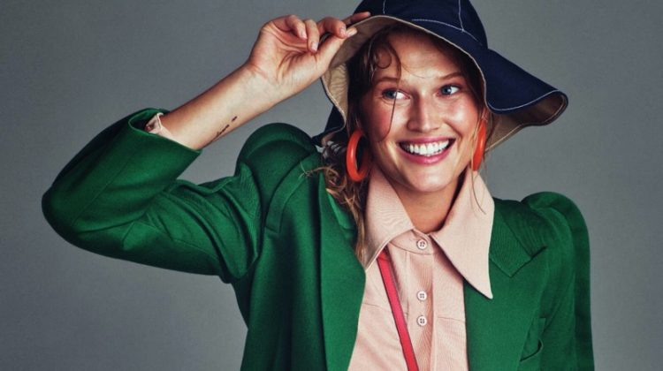 Toni Garrn Brightens Up in Autumn Fashions for ELLE Italy