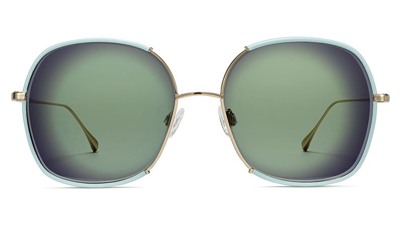 Warby Parker Marina Sunglasses in Polished Gold with Tahitian Teal $195