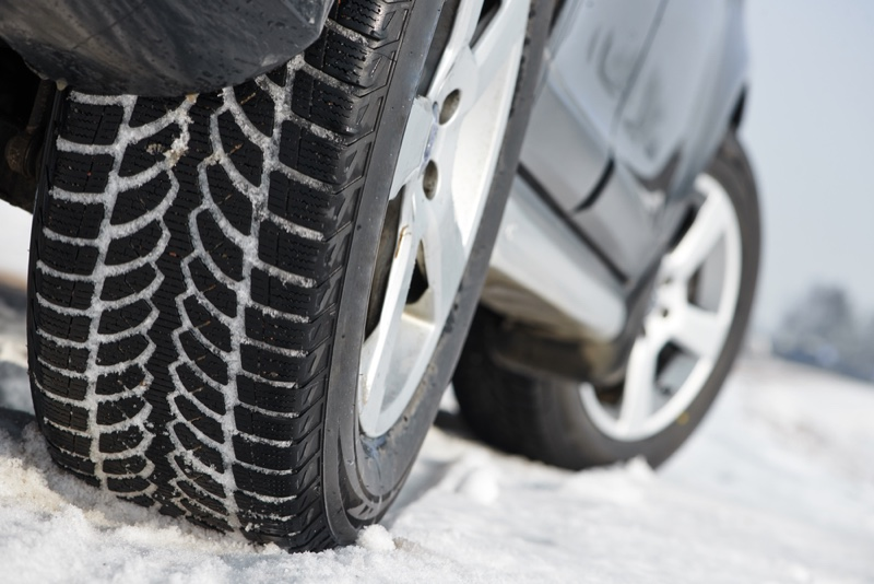 Winter Tire Car Closeup