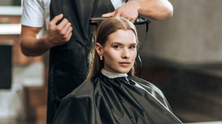 Woman Hair Salon Flat Iron Cape