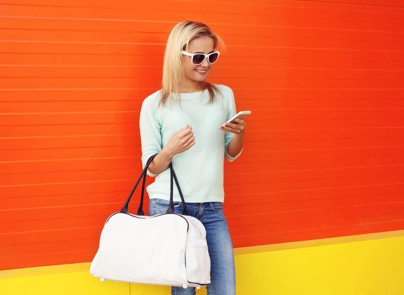 Woman Large Handbag Phone Sunglasses Stylish Look