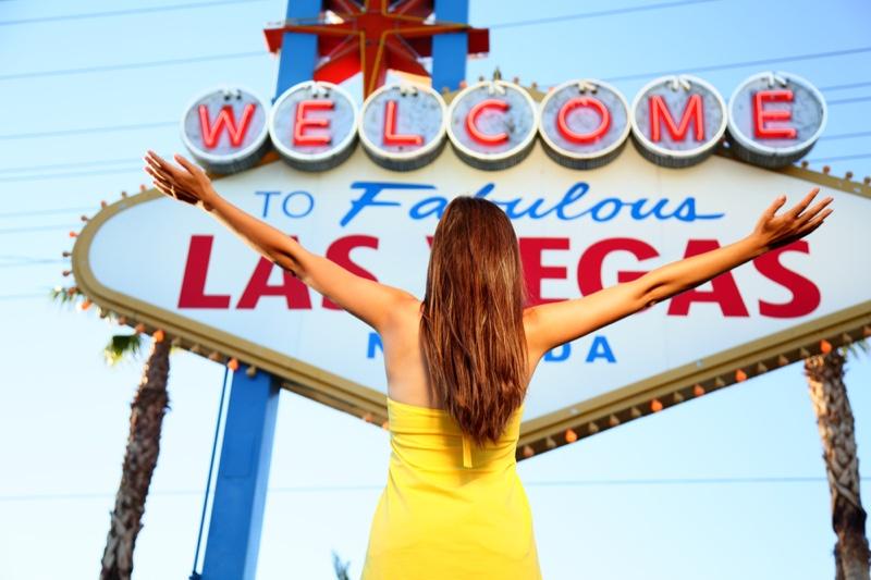 Woman Las Vegas Sign Yellow Dress