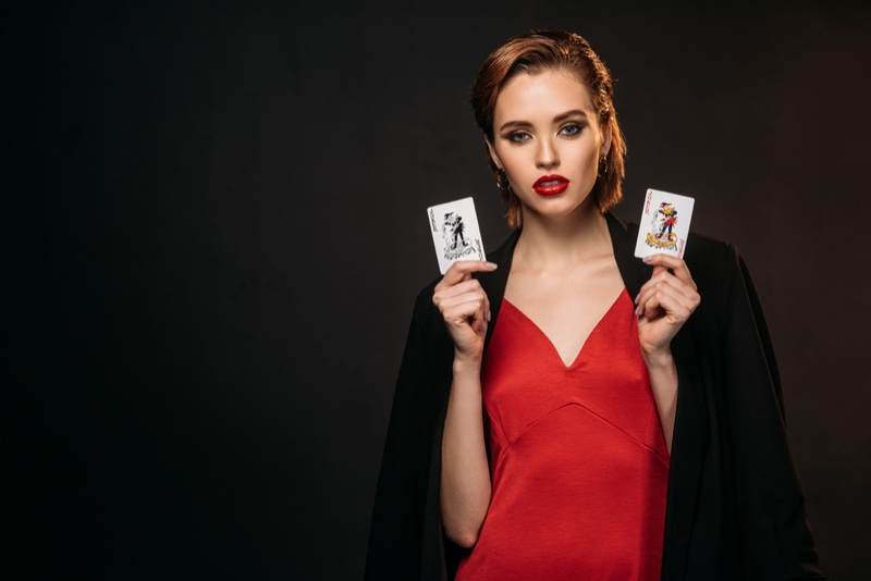 Woman Playing Cards Red Dress Attractive