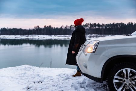Woman Winter Car Snow Coat Beanie