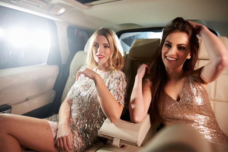 Women Sequin Dresses Back Limo Car