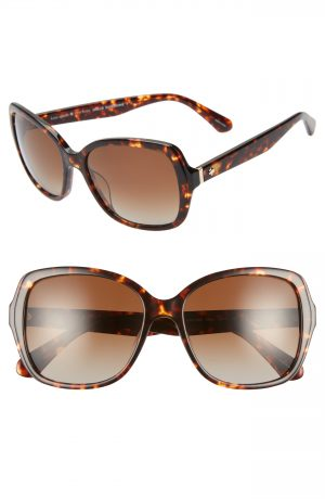 Women's Kate Spade New York Karalyns 56Mm Polarized Sunglasses - Dark Havana