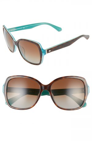Women's Kate Spade New York Karalyns 56Mm Polarized Sunglasses - Havana/ Mint