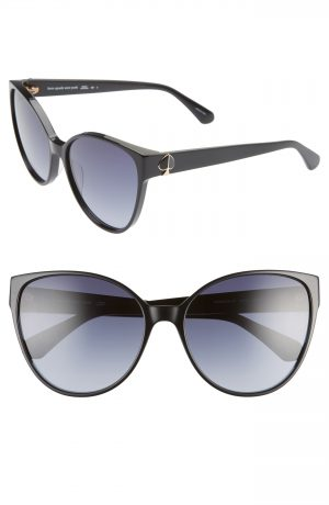 Women's Kate Spade New York Primrose 60Mm Gradient Cat Eye Sunglasses - Black/ Dkgrey Gradient
