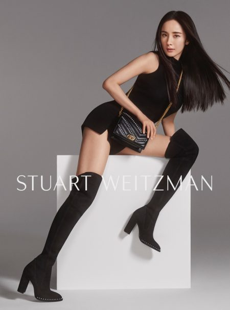 Yang Mi poses for Yang Mi for Stuart Weitzman Collection fall-winter 2019 campaign