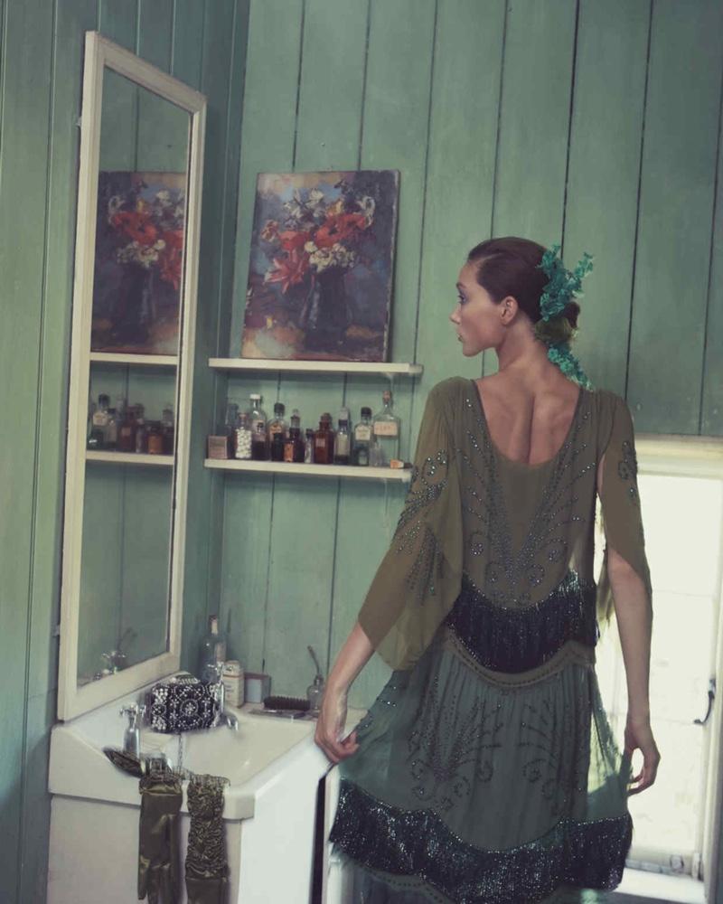 Yumi Lambert Models Romantic Dresses for How to Spend It
